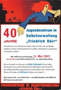 """40 Jahre Jugendzentrum in Selbstverwaltung """"Friedrich Dürr"""""""