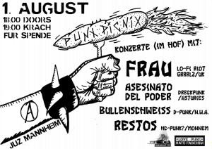 PUNX PICNIC #1 mit FRAU + ASESINATO DEL PODER + BULLENSCHWEISS + RESTOS