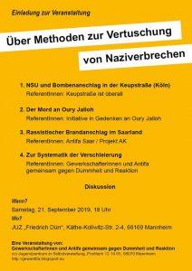 Vortragsabend: Über Methoden zur Vertuschung von Naziverbrechen.